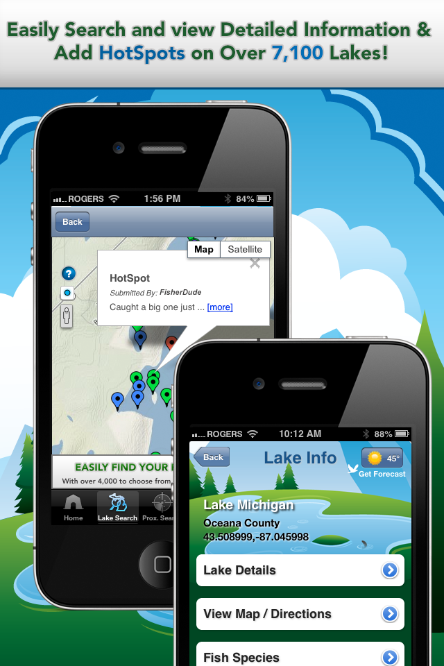 iFish Michigan App Lake Details & HotSpots Screens