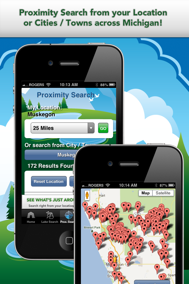 iFish Michigan App Proximity Search & Map View Screens